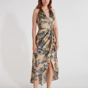 Ellejay Grace high low wrap midi dress in Animal